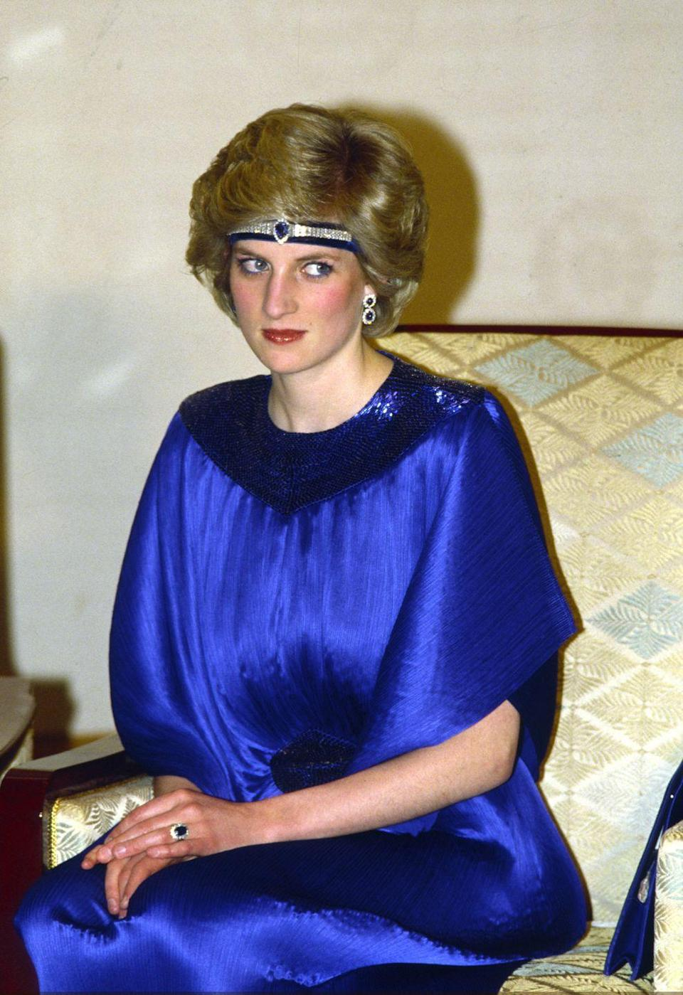 <p>Few moments were more memorable in Diana's jewelry history than when she wore this stunning diamond-and-sapphire necklace gifted by the Prince of Saudi Arabia and which she had redesigned as a headband several years after receiving the gift. Made to complement her engagement ring, this suite also included matching earrings, and she wore the set for many public appearances throughout the years. </p>