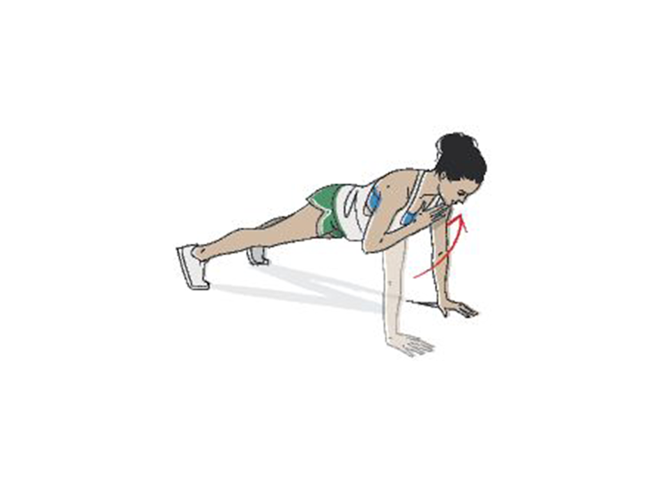 <p><strong>1/ </strong>Start with your body in a press-up position, making sure it's in a straight line, with your feet balancing on your toes.</p><p><strong>2/ </strong>In a swift movement bring one hand up to tap your opposite shoulder, and then quickly pop it back on the floor. Repeat the move with opposite side, all the while making sure your body is slightly shifting from one side to the other in order to stay balanced. </p>