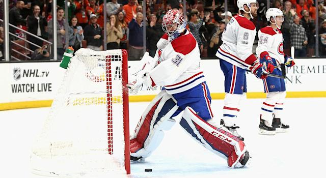 "It's been a frustrating start to the season for <a class=""link rapid-noclick-resp"" href=""/nhl/players/3782/"" data-ylk=""slk:Carey Price"">Carey Price</a> and the <a class=""link rapid-noclick-resp"" href=""/nhl/teams/mon/"" data-ylk=""slk:Montreal Canadiens"">Montreal Canadiens</a>. (Sean M. Haffey/Getty Images)"