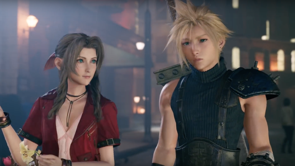 Aerith and Cloud sit together in the Final Fantasy VII remake.