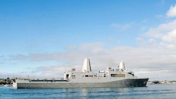 PHOTO: In this Dec. 6, 2012, photo released by the U.S. Navy, the amphibious transport dock ship USS San Diego sails in San Diego Bay in San Diego, California.  (U.S. Navy/Mass Communication Specialist 2nd Class Jonathan P. Idle/AP)