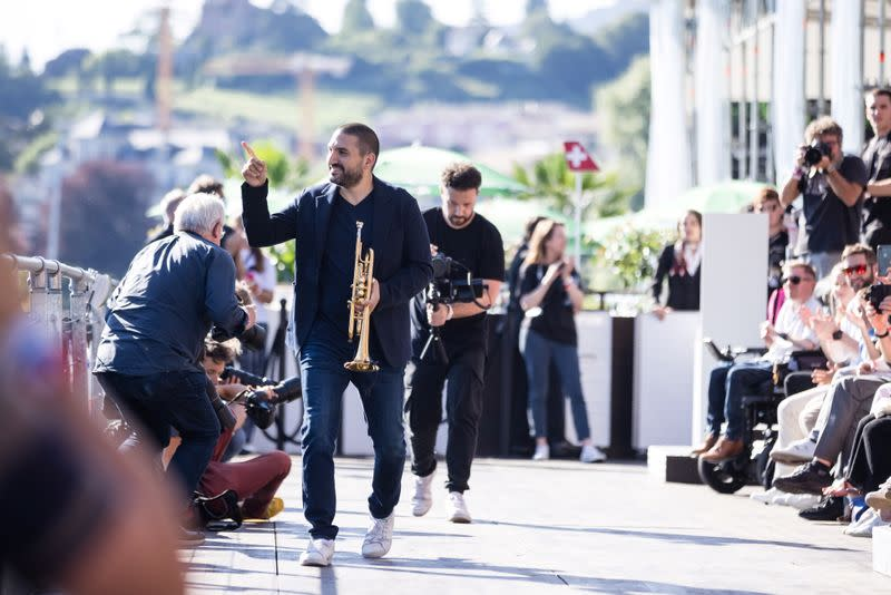 French-Lebanese trumpeter Maalouf arrives before a concert at the 55th Montreux Jazz Festival in Montreux