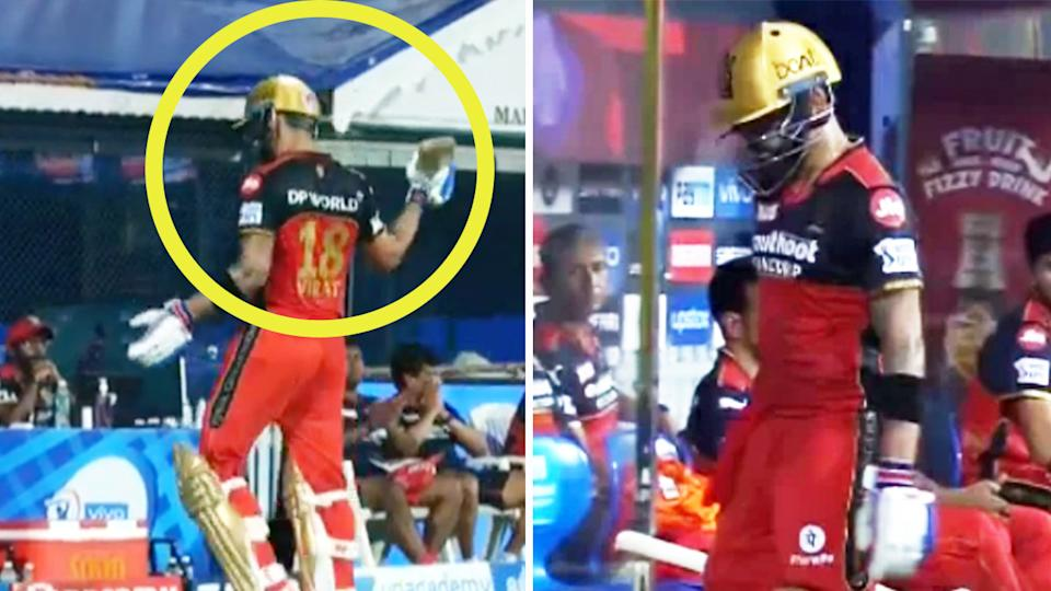 Virat Kohli (pictured) wielding his bat and hitting a chair after his wicket in the Indian Premier League.