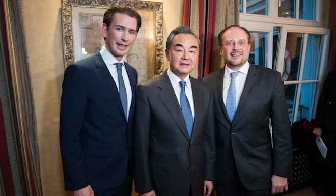 Chinese Foreign Minister Wang Yi with Austrian Chancellor Sebastian Kurz (left) and Austrian Foreign Minister Alexander Schallenberg at the Munich Security Conference on Friday. Photo: Michael Gruber/Aussenministerium via APA/dpa