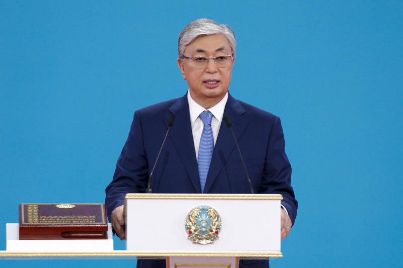 Kazakhstan's new President Kassym-Jomart Tokayev speaks during his inauguration ceremony in Nur-Sultan, the capital city of Kazakhstan, Wednesday, June 12, 2019. Tokayev, an ally of Kazakhstan's former president was named the winner of the presidential election on Monday in a vote marred by a police crackdown on protesters who criticized the result as an orchestrated handover of power. (AP Photo/Alexei Filippov)
