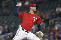 Minnesota Twins pitcher Chase De Jong throws against the Chicago White Sox in the second game of a baseball doubleheader Friday, Sept. 28, 2018, in Minneapolis. (AP Photo/Stacy Bengs)