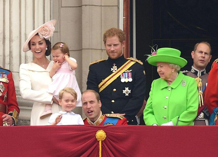 """<p>All smiles on the royal balcony for Trooping the Colour. </p><p><strong>Read More: </strong><a href=""""https://www.townandcountrymag.com/society/tradition/a9990351/buckingham-palace-royal-balcony-history/"""" rel=""""nofollow noopener"""" target=""""_blank"""" data-ylk=""""slk:Who Gets to Stand on the Buckingham Palace Balcony?"""" class=""""link rapid-noclick-resp"""">Who Gets to Stand on the Buckingham Palace Balcony?</a><br></p>"""