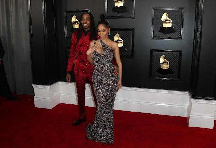 LOS ANGELES, CA - January 26, 2020: Quavo and Saweetie arriving at the 62nd GRAMMY Awards at STAPLES Center in Los Angeles
