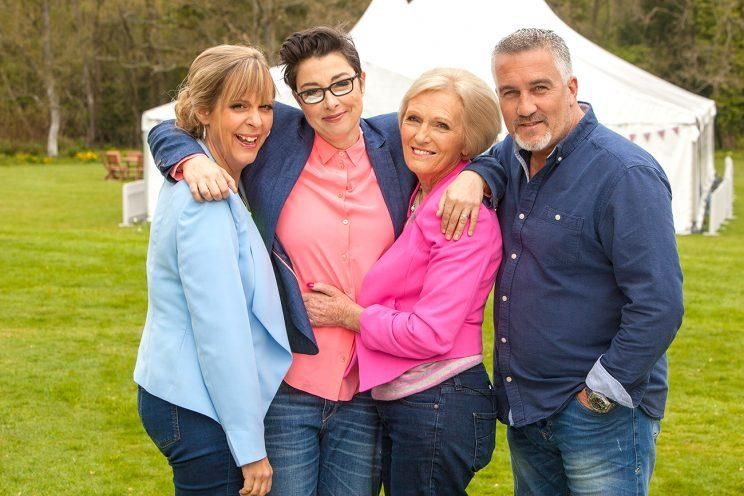 Paul Hollywood, Mary Berry, Sue Perkins, and Mel Giedroyc on 'The Great British Bake Off' (Credit: PBS)