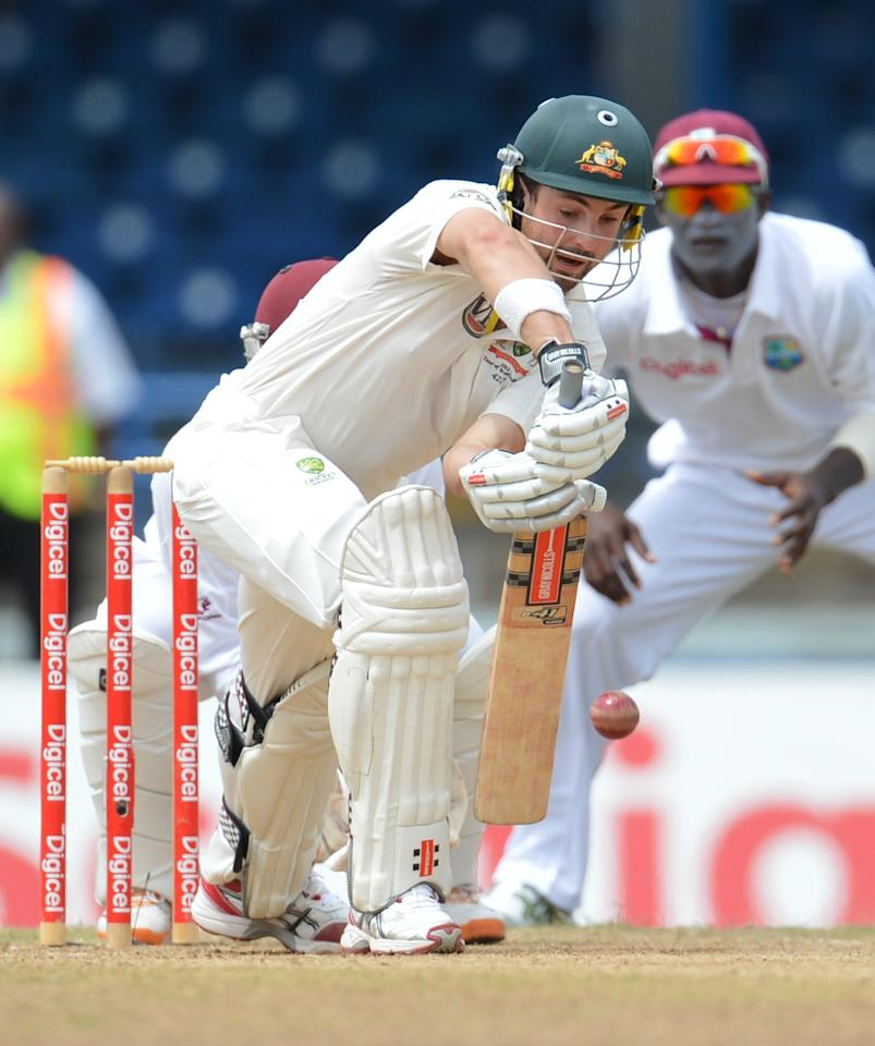 Australian batsman Ed Cowan plays a shot during the fourth day of the second-of-three Test matches between Australia and West Indies April 18, 2012 at Queen's Park Oval in Port of Spain, Trinidad. AFP PHOTO/Stan HONDA (Photo credit should read STAN HONDA/AFP/Getty Images)