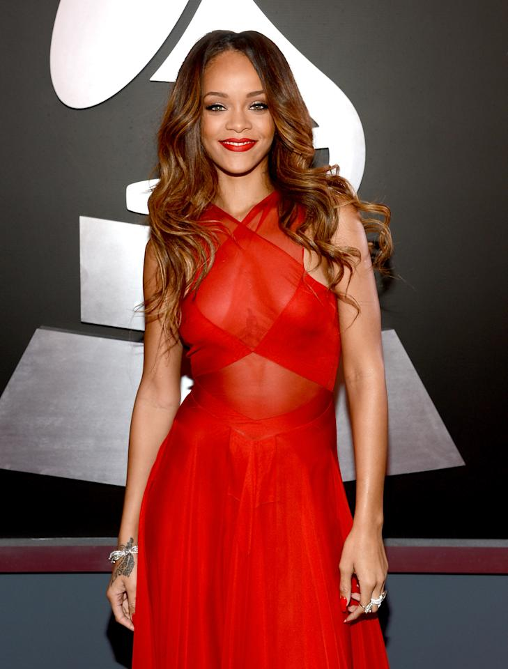 Rihanna attends the 55th Annual GRAMMY Awards at STAPLES Center on February 10, 2013 in Los Angeles, California.  (Photo by Larry Busacca/WireImage)