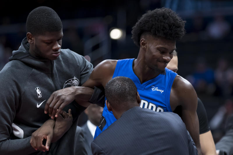 Jonathan Isaac escaped significant ligament damage. (Scott Taetsch/Getty Images)