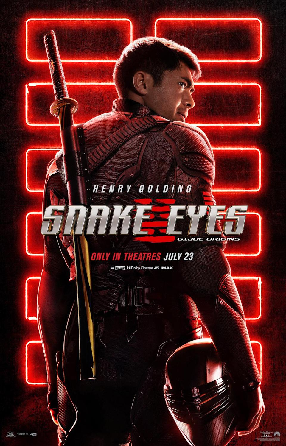 Henry Golding in a red suit with a katana looks back at the camera in the Snake Eyes poster
