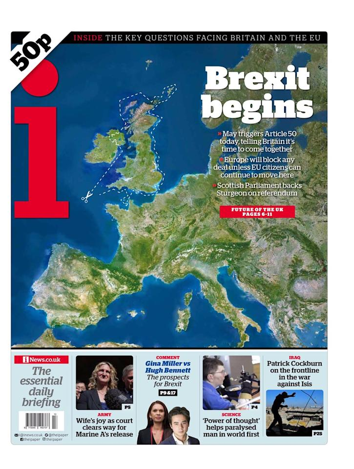 <p>The i also chopped Britain out of Europe, this time leaving Ireland intact.  </p>