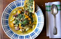 "To prevent the pasta from getting too soft, we cook it separately and toss it with olive oil and chopped parsley, then spoon it into each bowl of soup. <a href=""https://www.bonappetit.com/recipe/squash-and-bean-minestrone?mbid=synd_yahoo_rss"" rel=""nofollow noopener"" target=""_blank"" data-ylk=""slk:See recipe."" class=""link rapid-noclick-resp"">See recipe.</a>"