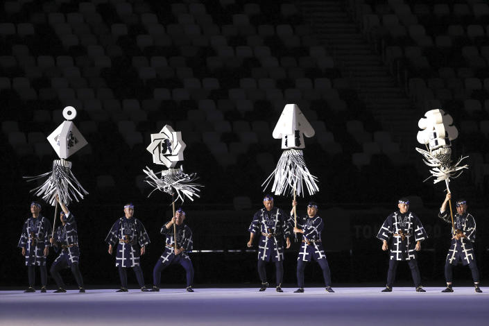 <p>TOKYO, JAPAN - JULY 23: Performers are seen during the Opening Ceremony of the Tokyo 2020 Olympic Games at Olympic Stadium on July 23, 2021 in Tokyo, Japan. (Photo by Jamie Squire/Getty Images)</p>