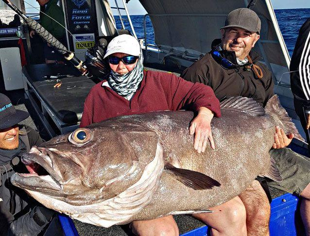 Sue Elcock with her massive catch. Source: Brendon Shinnick/Reel Force Charters