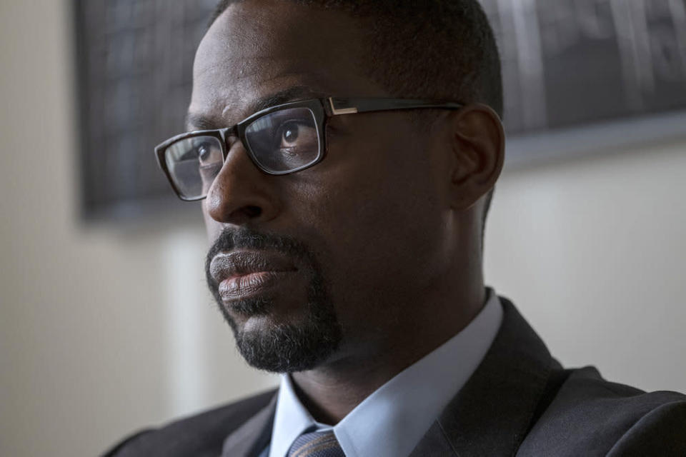 "This image released by NBC shows Sterling K. Brown in a scene from ""This Is Us."" Season five debuts Tuesday and will address the pandemic and Black Lives Matter movement. (Ron Batzdorff/NBC via AP)"