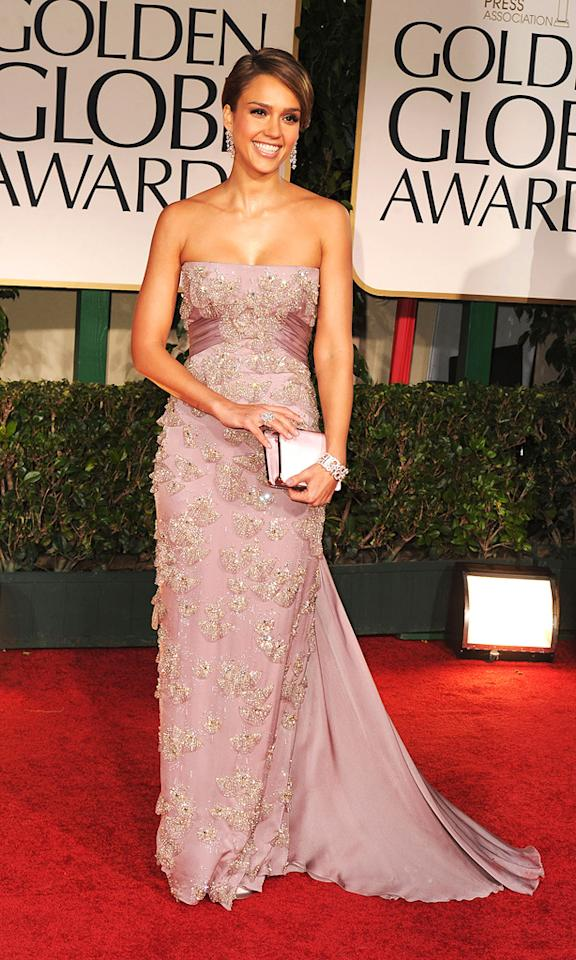 Jessica Alba arrives at the 69th Annual Golden Globe Awards in Beverly Hills, California, on January 15.