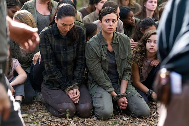Nicole Barré as Kathy, Briana Venskus as Beatrice, and Mimi Kirkland as Rachel in  <em>The Walking Dead</em>. (Photo: AMC)