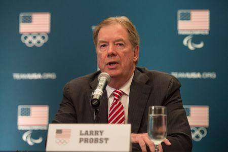 FILE PHOTO: December 16, 2014; Redwood City, CA, USA; USOC chairman Larry Probst addresses the media in a press conference following the USOC board of directors meeting at Hotel Sofitel San Francisco. Kyle Terada-USA TODAY Sports/ File Photo