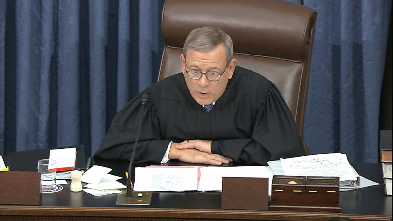 """In this image from video, presiding officer Supreme Court Chief Justice John Roberts admonishes the impeachment managers and president's counsel in equal terms as he speaks during the impeachment trial against President Donald Trump in the Senate at the U.S. Capitol in Washington, Wednesday, Jan. 22, 2020. Roberts asked them to """"avoid speaking in a manner and using language that is not conducive to civil discourse."""" (Senate Television via AP)"""