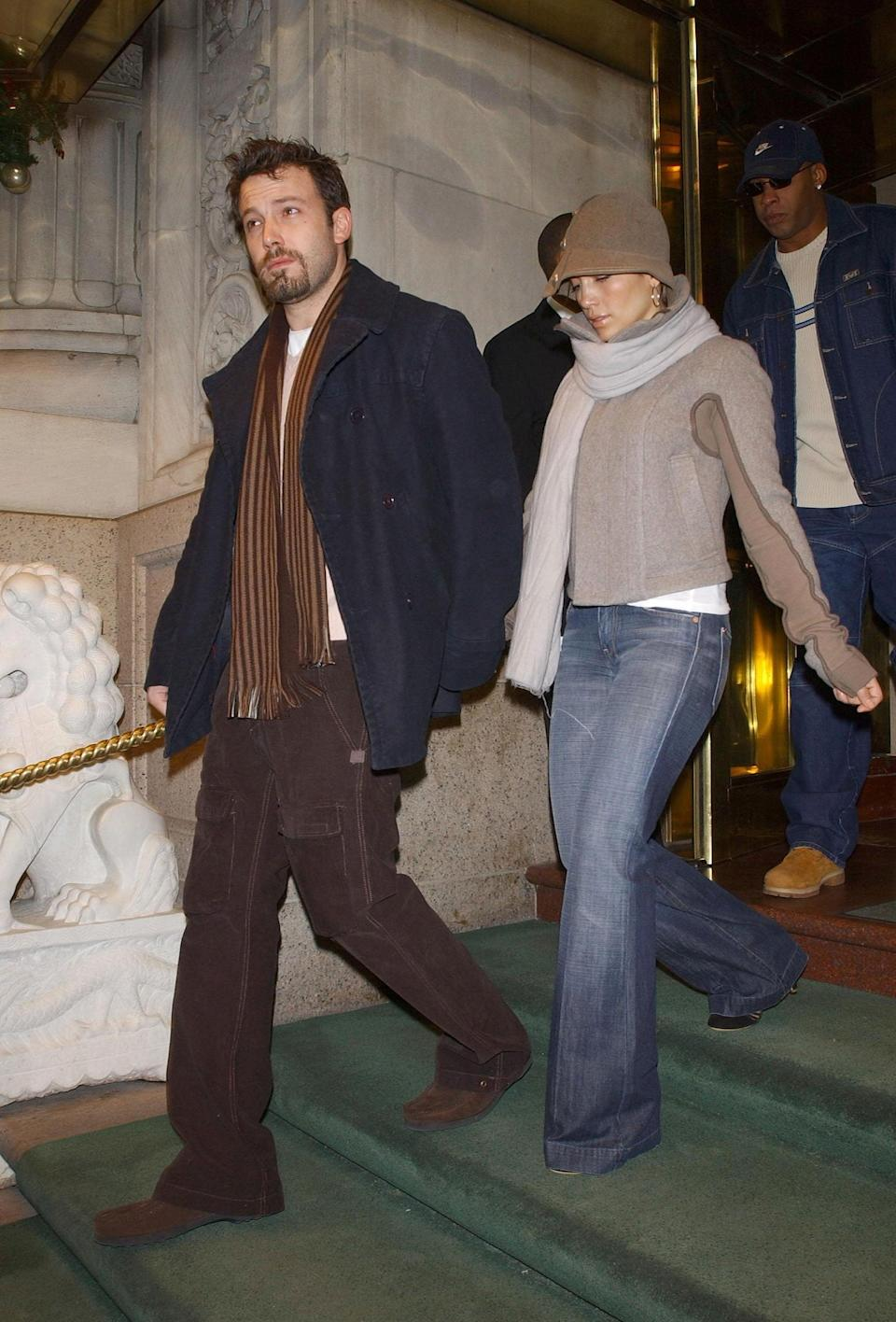 <p>His and hers scarves for a December date night in NYC in 2003.</p>