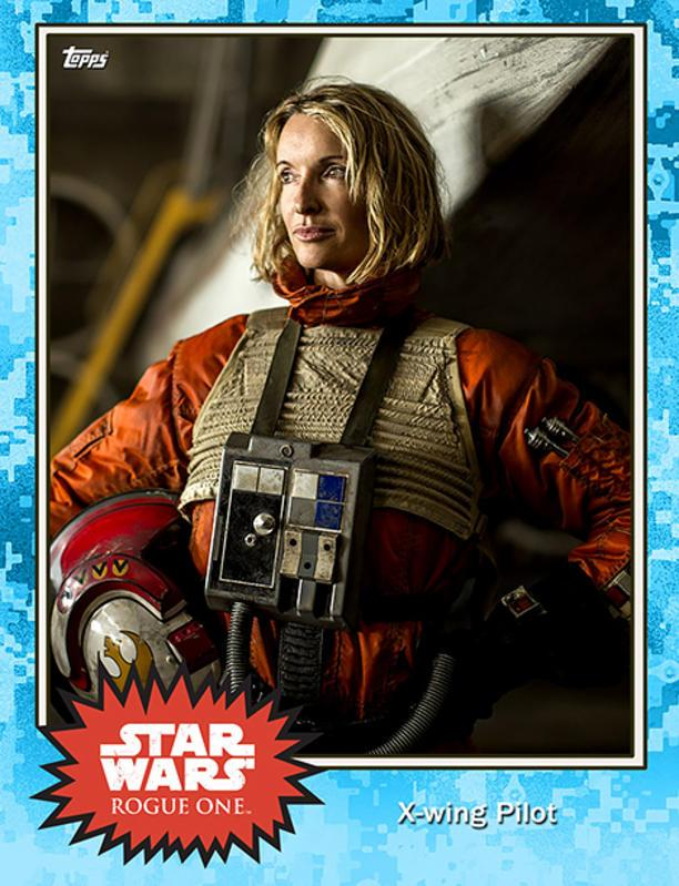 We begin with a badass female X-wing pilot. Her name: unknown for now, although fans may be hoping this is Evaan Verlaine, a fellow Aldaraanian and confidante of Princess Leia's from the Star Wars Marvel Comics. The V symbols inside the array of yellow dots on her helmet stand for kill counts, each one tallying 20 enemy fighters. Whoever she is, she's flown around the block a few times.
