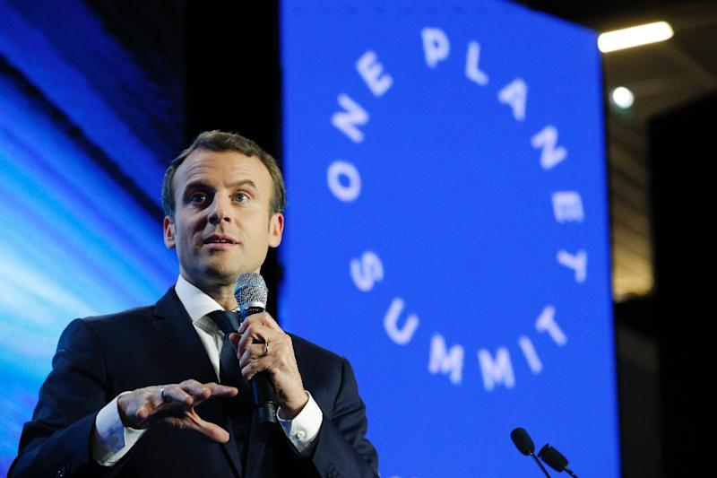 "French President Emmanuel Macron told delegates at a finance-themed climate summit in Paris ""we are not moving fast enough"" (AFP Photo/Philippe Wojazer)"