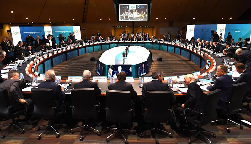 Delegates prepare to hear the opening remarks at the G20 Finance Ministers and Central Bank Governors Meeting in Cairns on September 20, 2014 (AFP Photo/William West)