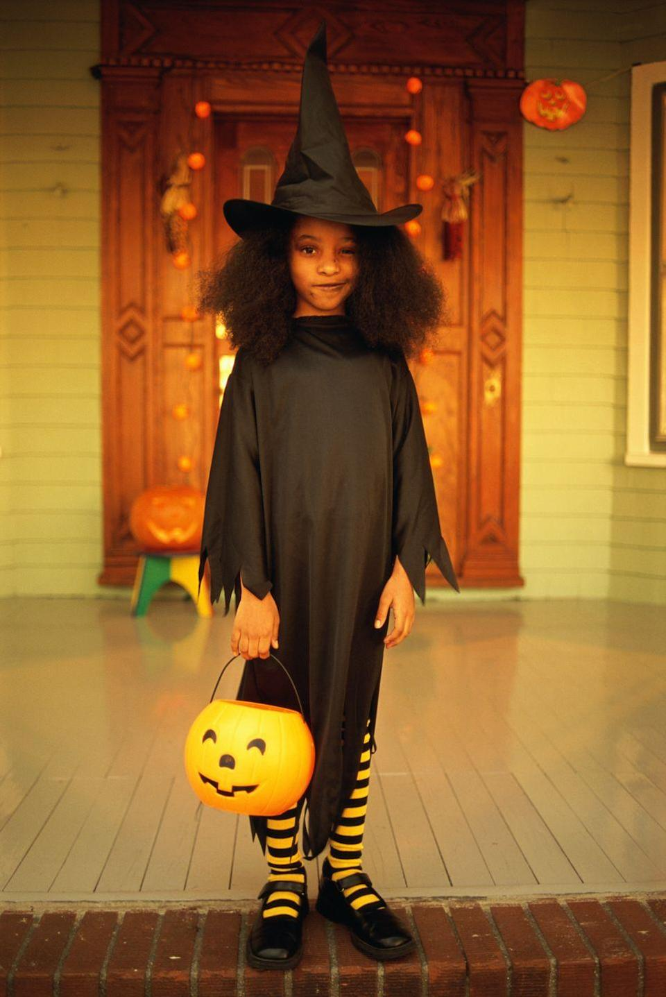 """<p>A simple store-bought witch costume stands out from the crowd, thanks to a pair of yellow and black striped tights. </p><p><a class=""""link rapid-noclick-resp"""" href=""""https://www.amazon.com/Fun-World-Little-Childrens-Costume/dp/B001ENBFT2?tag=syn-yahoo-20&ascsubtag=%5Bartid%7C10072.g.33534666%5Bsrc%7Cyahoo-us"""" rel=""""nofollow noopener"""" target=""""_blank"""" data-ylk=""""slk:SHOP WITCH COSTUME"""">SHOP WITCH COSTUME</a></p><p><a class=""""link rapid-noclick-resp"""" href=""""https://www.amazon.com/Rubies-Striped-Child-Bumble-Tights/dp/B000VLO9JQ?tag=syn-yahoo-20&ascsubtag=%5Bartid%7C10072.g.33534666%5Bsrc%7Cyahoo-us"""" rel=""""nofollow noopener"""" target=""""_blank"""" data-ylk=""""slk:SHOP STRIPED TIGHTS"""">SHOP STRIPED TIGHTS</a></p>"""
