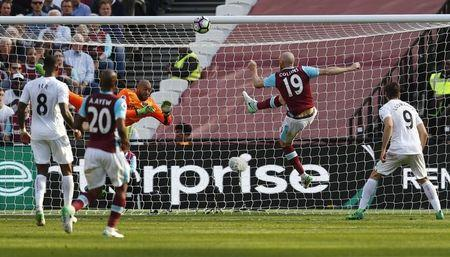 Britain Football Soccer - West Ham United v Swansea City - Premier League - London Stadium - 8/4/17 West Ham United's Darren Randolph and James Collins in action Reuters / Eddie Keogh Livepic