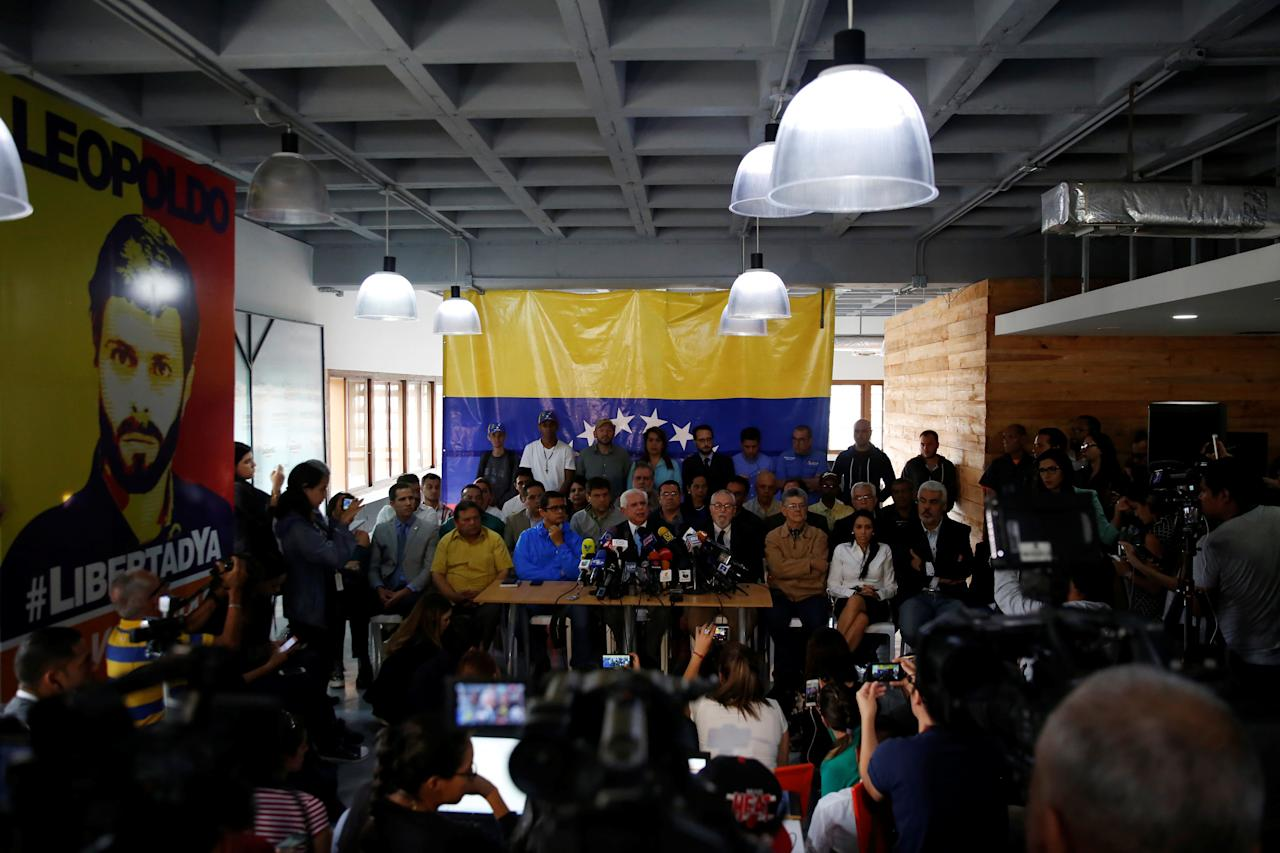 Omar Barboza, president of the National Assembly and member of Frente Amplio Venezuela Libre, speaks to the media a day after the national election in Caracas, Venezuela May 21, 2018. REUTERS/Carlos Jasso