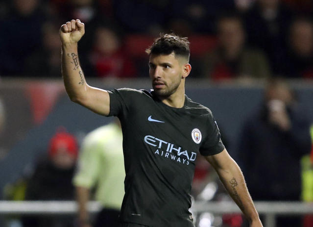 Sergio Aguero has scored eight goals since the turn of the year in just six games for Manchester City.