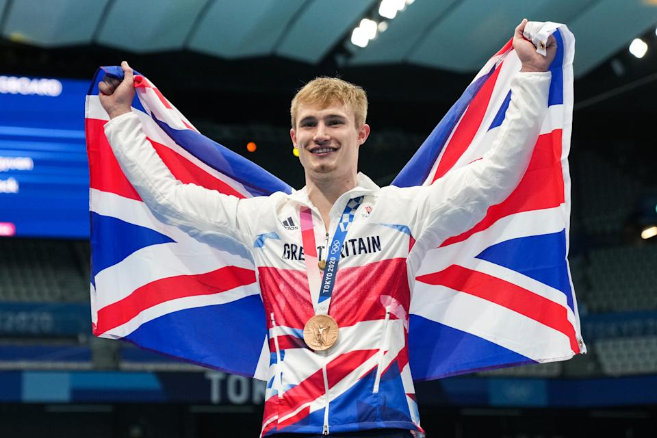 TOKYO, JAPAN - AUGUST 03: Bronze medalist Jack Laugher of Great Britain poses during the medal ceremony for the Men's 3m Springboard Final on day eleven of the Tokyo 2020 Olympic Games at Tokyo Aquatics Centre on August 3, 2021 in Tokyo, Japan. (Photo by Bai Yu/CHINASPORTS/VCG via Getty Images)