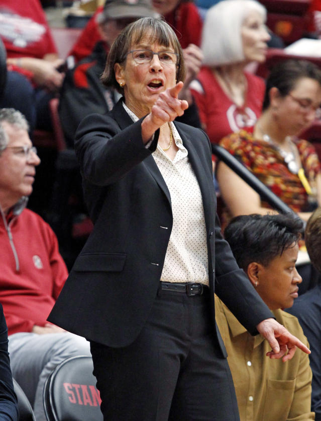 Stanford head coach Tara VanDerveer points during the first half of an NCAA college basketball game against Ohio State Sunday, Dec. 15, 2019, in Stanford, Calif. Stanford beat Ohio State 71-52. (AP Photo/George Nikitin)