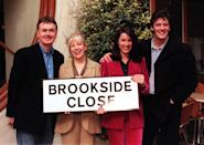Stars from the past and present of Channel 4's Liverpudlian soap, Brookside, gather together in London today (Tuesday) to promote the five-night Easter special with its 'explosive' storyline which deeply affects many of the regular residents of the most famous Close in the Country. Left to right (actor's name followed by character name): Bryan Murray (Trevor Jordache), Sandra Maitland (Mandy Jordache), Claire Sweeney (Lindsey Stanlow) and Sam Kane (Peter Phelan). Photo by Tony Harris/PA