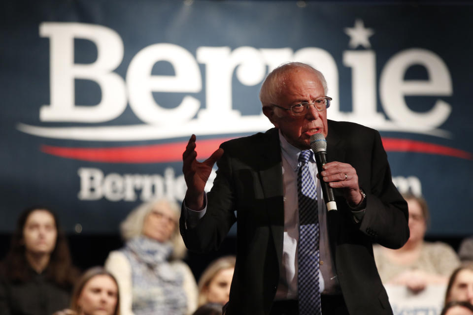 Democratic presidential candidate Sen. Bernie Sanders, I-Vt., speaks at a town hall campaign event at the Rochester Opera House, Saturday, Feb. 8, 2020, in Rochester, N.H. (AP Photo/Robert F. Bukaty)