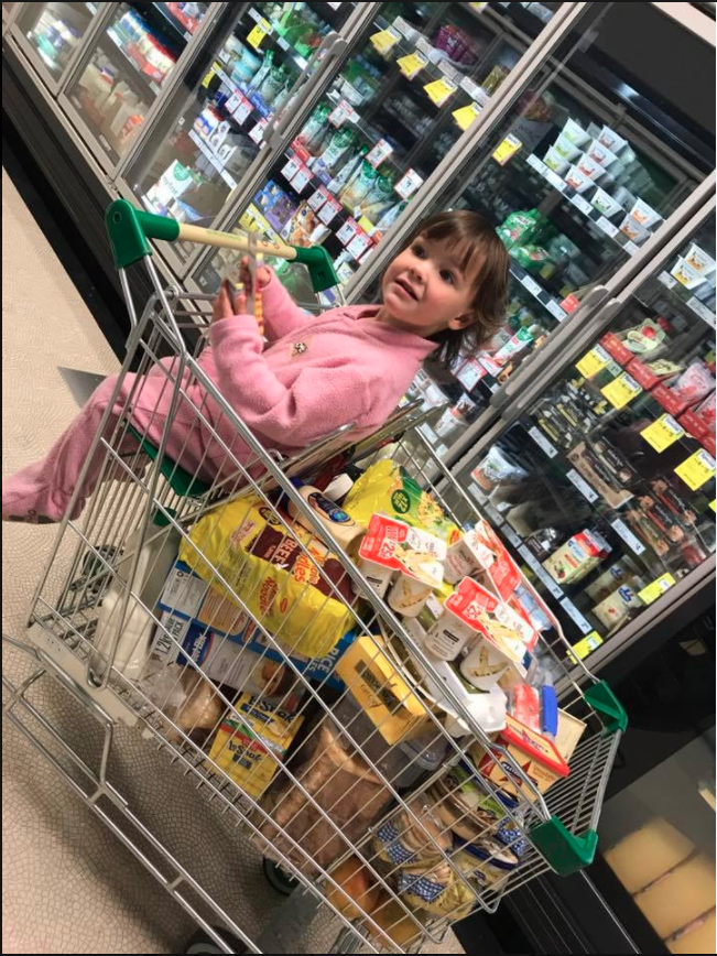 Mummy blogger Constance Hall has been shamed for posting this photo of her shopping trolley on Facebook. Photo: Facebook