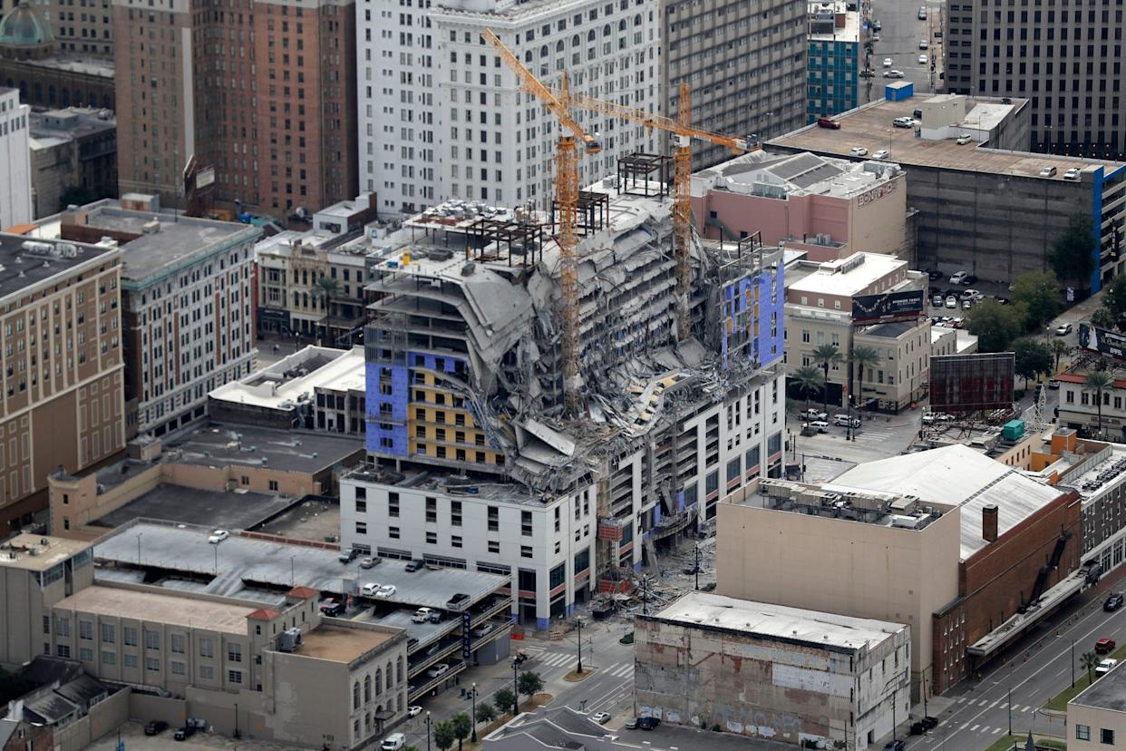 This aerial photo shows the Hard Rock Hotel in New Orleans, which was under construction, after a fatal partial collapse Oct. 12, 2019.