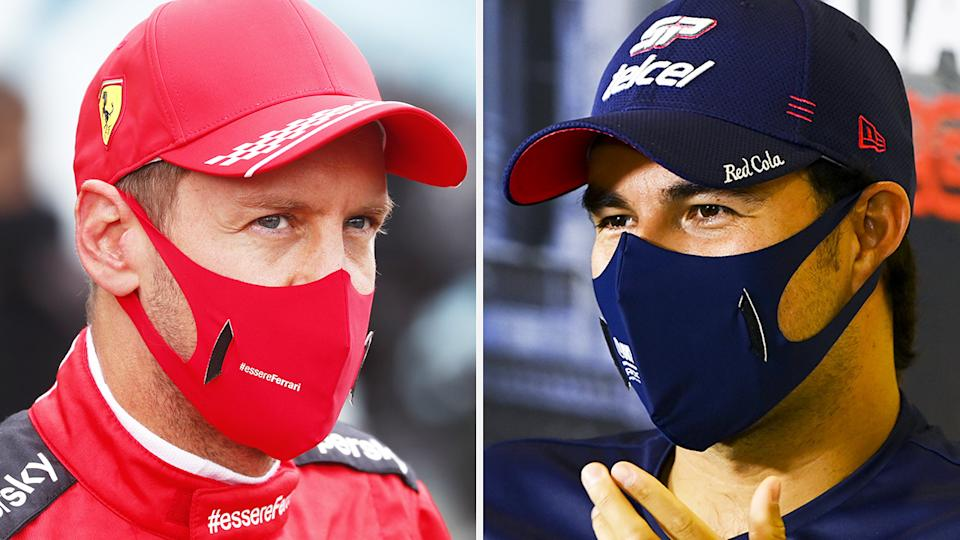 A 50-50 split image shows Sebastian Vettel on the left and Sergio Perez on the right.