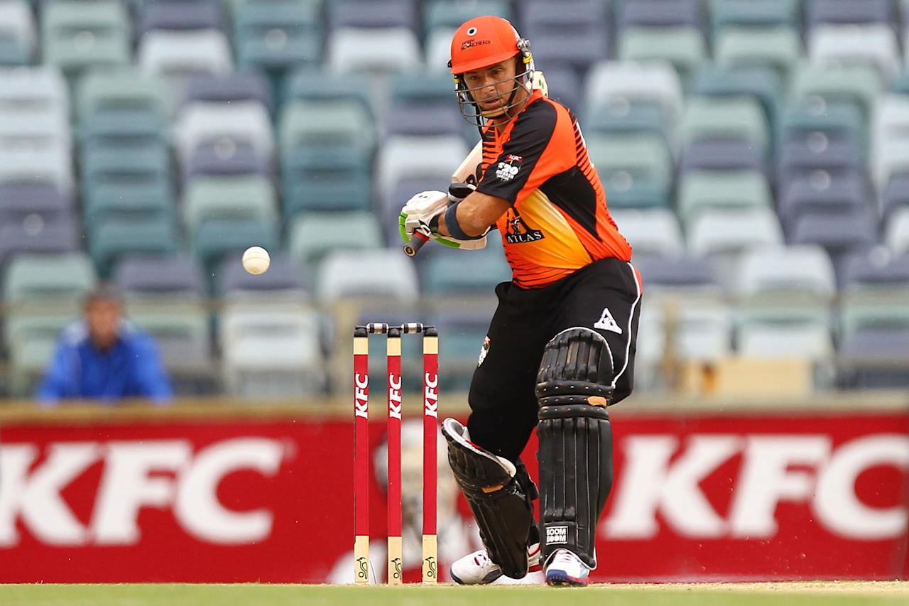 PERTH, AUSTRALIA - DECEMBER 12: Herschelle Gibbs of the Scorchers hits the ball during the Big Bash League match between the Perth Scorchers and the Melbourne Stars at WACA on December 12, 2012 in Perth, Australia.  (Photo by Will Russell/Getty Images)