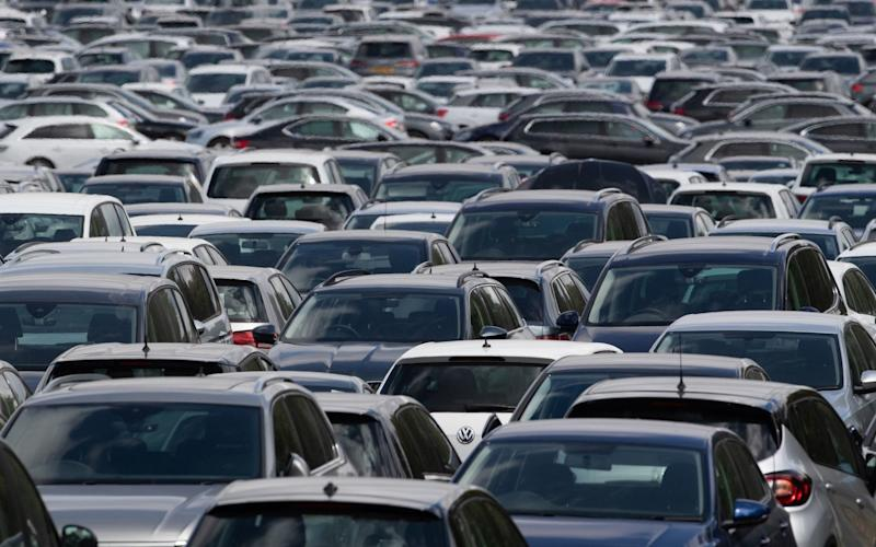 Thousands of used cars lined up at a site in Corby, Northamptonshire, waiting to be distributed to car dealerships around the UK