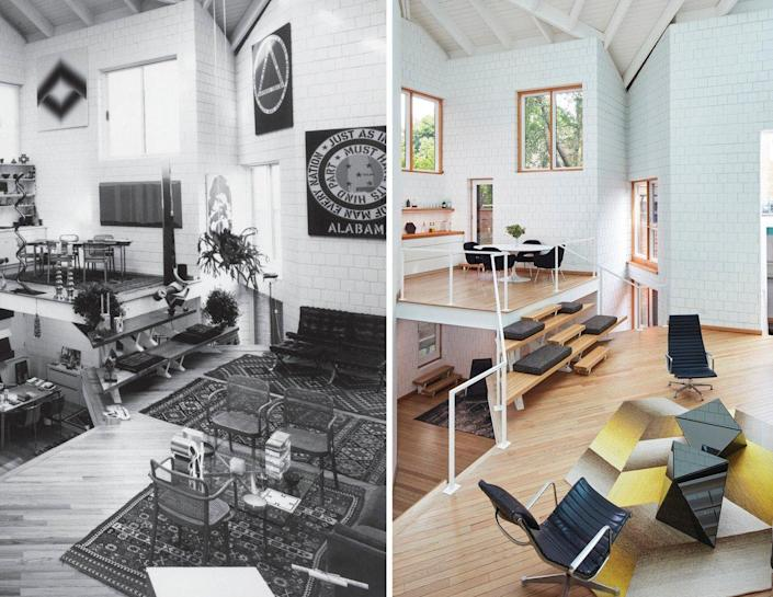 Inside Walter Netsch's split-level Chicago home, both before and after the recent SOM renovation.