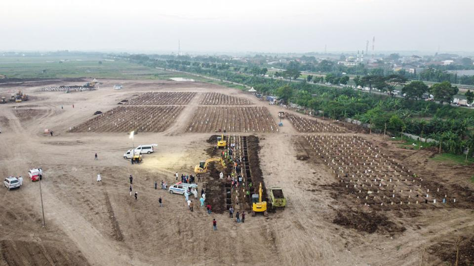 An aerial view of coronavirus victim burial at Rorotan Cemetery in Jakarta, Indonesia on July 9. Source: Getty