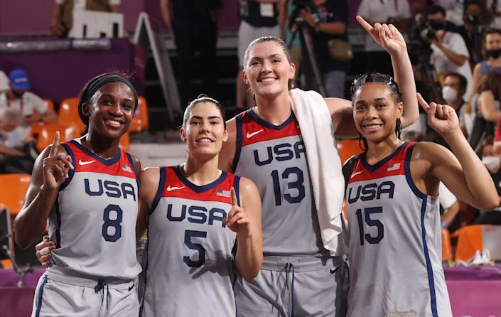 """<p>For <a href=""""https://people.com/sports/tokyo-olympics-us-womens-team-3-on-3-basketball-wins-first-gold-medal/"""" rel=""""nofollow noopener"""" target=""""_blank"""" data-ylk=""""slk:the inaugural Olympic competition of 3-on-3 basketball,"""" class=""""link rapid-noclick-resp"""">the inaugural Olympic competition of 3-on-3 basketball,</a> team USA (WNBA players Stephanie Dolson, Kelsey Plum, Jackie Young and Allisha Gray) bested Russia 18-15 to take home the sport's first-ever gold medal. </p>"""