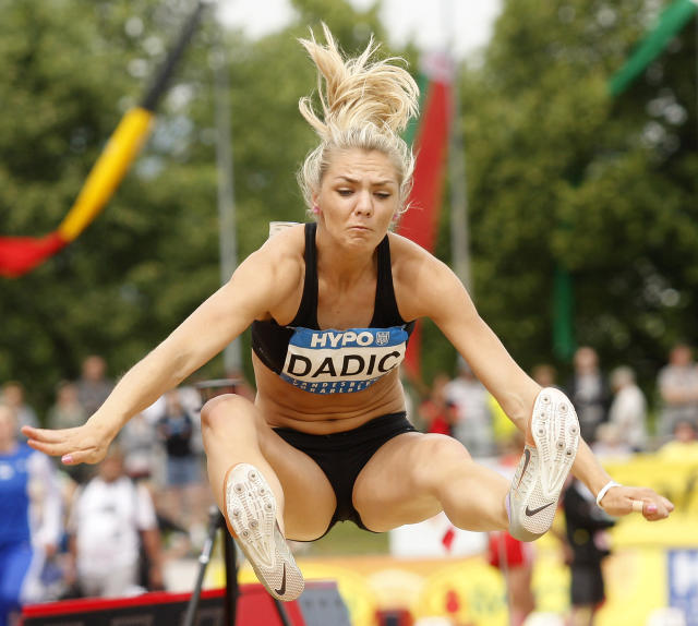 Ivona Dadic of Austria competes during the women's long jump event of the ladies heptathlon on May 27, 2012 in Goetzis, some 640 kilometers west of Vienna. AFP PHOTO / DIETER NAGLDIETER NAGL/AFP/GettyImages