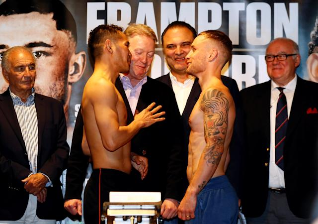 Boxing - Carl Frampton & Nonito Donaire Weigh-In - Europa Hotel, Belfast, Britain - April 20, 2018 Carl Frampton and Nonito Donaire go head to head during the weigh in Action Images via Reuters/Jason Cairnduff