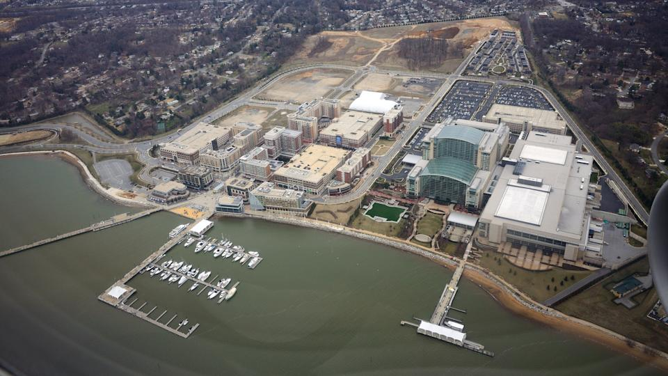 An overhead view of the National Harbor development along the Potomac River in Oxon Hill, Prince George's County, Maryland taken during the development of the area in March 2013.