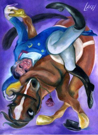 This is an 8 by 10 inch print on canvas of my painting of GOP Presidential contender Mitt Romney dancing with his dressage horse, Rafalca.